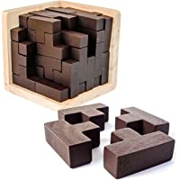 3D Wooden Brain Teaser Puzzle by Sharp Brain Zone. Genius Skills Builder T-Shape Pieces with Tetris Fit. Educational Toy…
