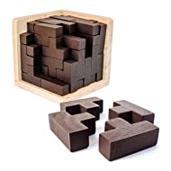 3D Wooden Brain Teaser Puzzle by Sharp Brain Zone. Genius Skills Builder T-Shape Pieces with Tetris Fit. Educational Toy for Kids and Adults. Explore Creativity and Problem Solving. Gift Desk Puzzles