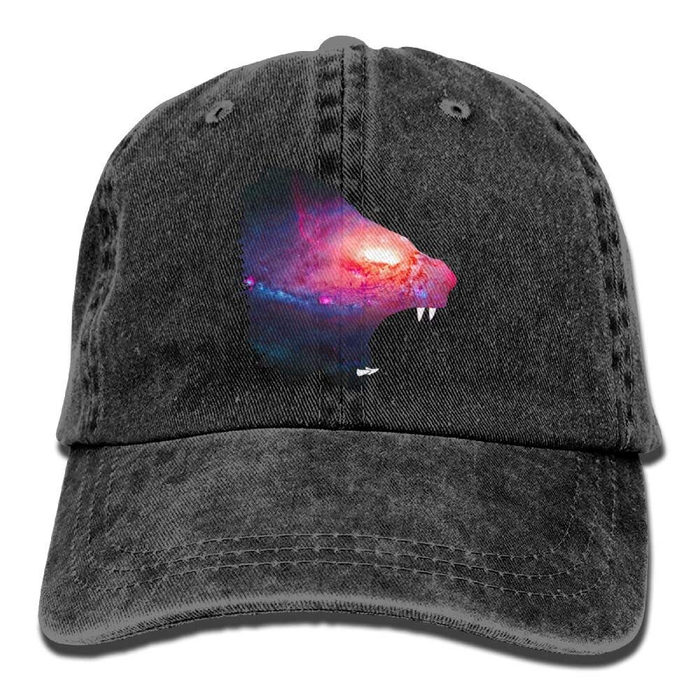 JTRVW The Roaring Star Lion Head Denim Hat Adjustable Womens Washed Baseball Hats