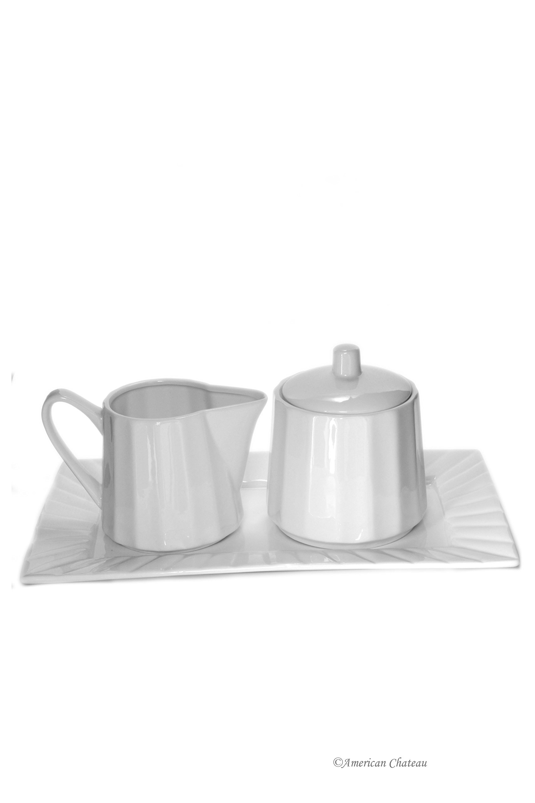 Modern Ribbed Coffee Porcelain White Covered Sugar Bowl & Creamer Set with Tray