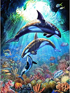 """Large 5D Diamond Art Kits for Adults,16"""" x 20"""" in Painting Cross Stitch Kits,Dolphin Full Drill Home Wall Crystal Rhinestone Embroidery Pictures Arts Craft for Home Wall Decor Gift"""