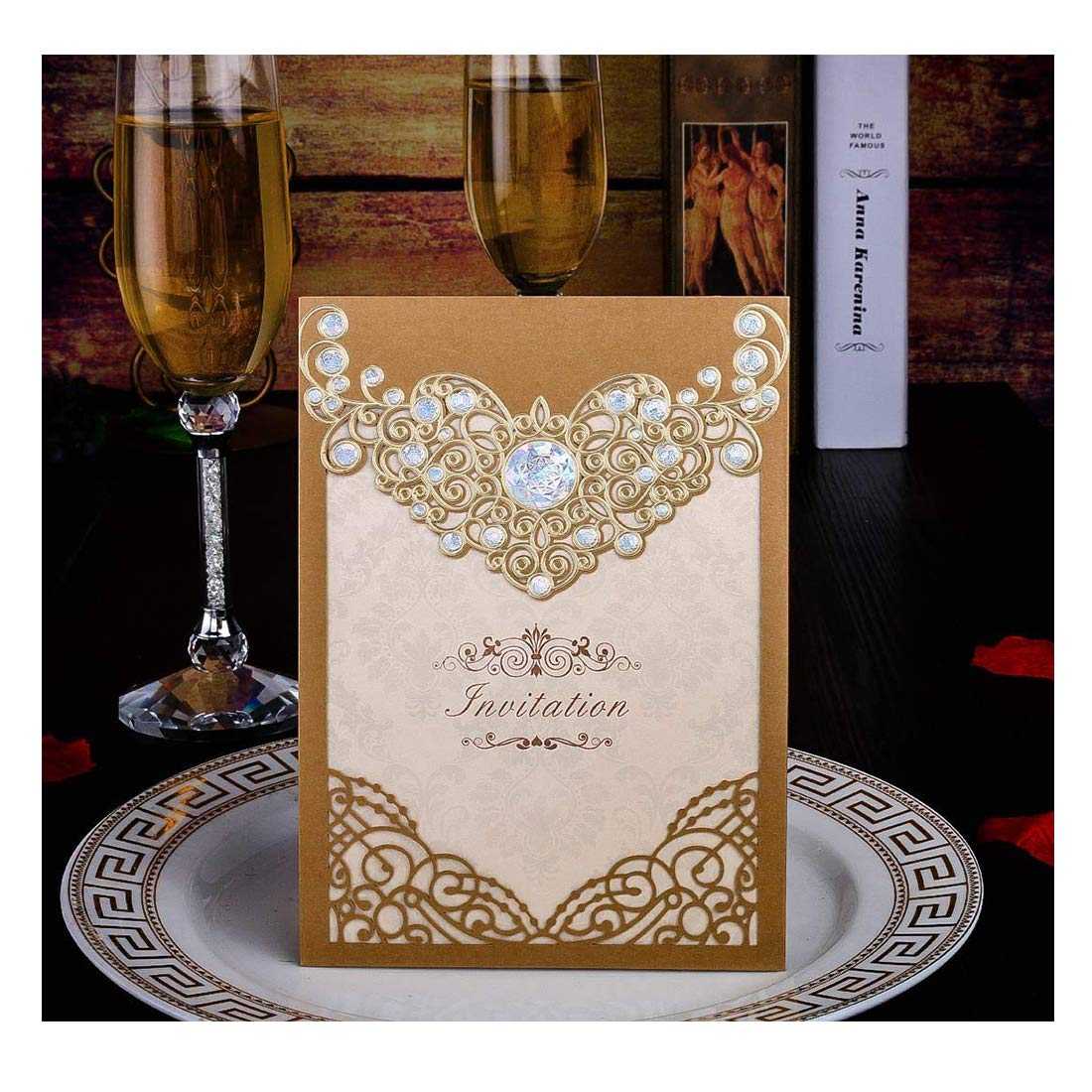 50PCS Laser Cut Invitations Cards Luxury Diamond Gloss Design Wedding Bridal Shower Invitation Baby Shower Engagement Birthday Invitation Graduation