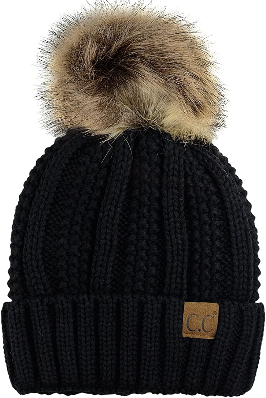 C.C Thick Cable Knit Faux Fuzzy Fur Pom Fleece Lined Skull Cap Cuff Beanie, Black at  Women's Clothing store
