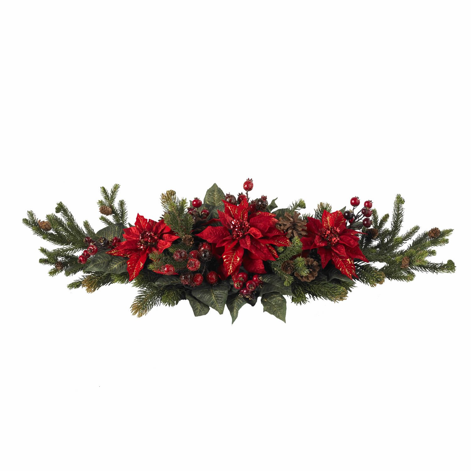 Amazon Nearly Natural 4917 Poinsettia and Berry Centerpiece