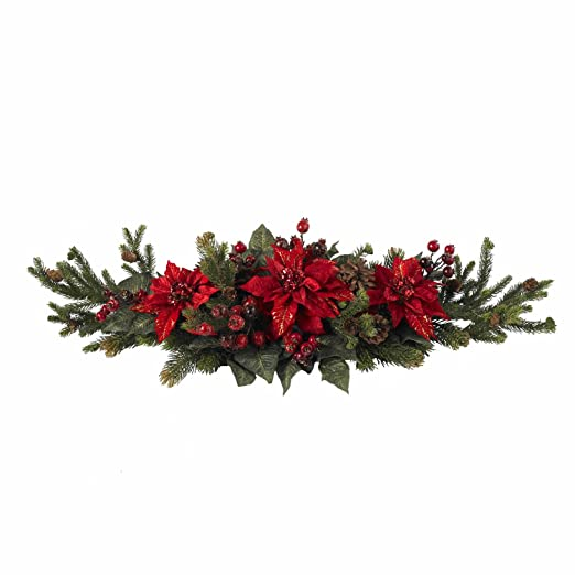 Christmas Tablescape Decor - A beautiful artificial red poinsettia, berry and pinecone traditional Christmas centerpiece bursting with color