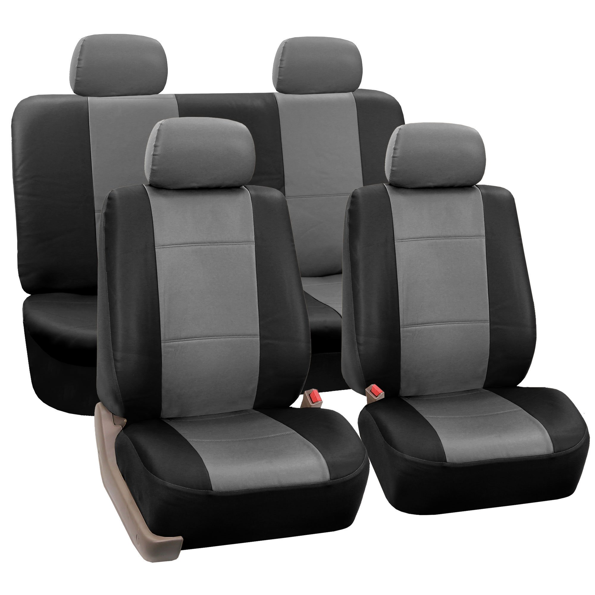 FH Group FH-PU002114 Classic PU Leather Car Seat Covers Gray/Black, Airbag Compatible and Split Bench- Fit Most Car, Truck, SUV, or Van