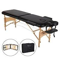 MARNUR Table de Massage Pliante en Bois, 2 Zones Pliables, Lit Professionnel d'esthetique, Hauteur Réglable pour Le Spa/Les Soins du Visage + Sac de Transport