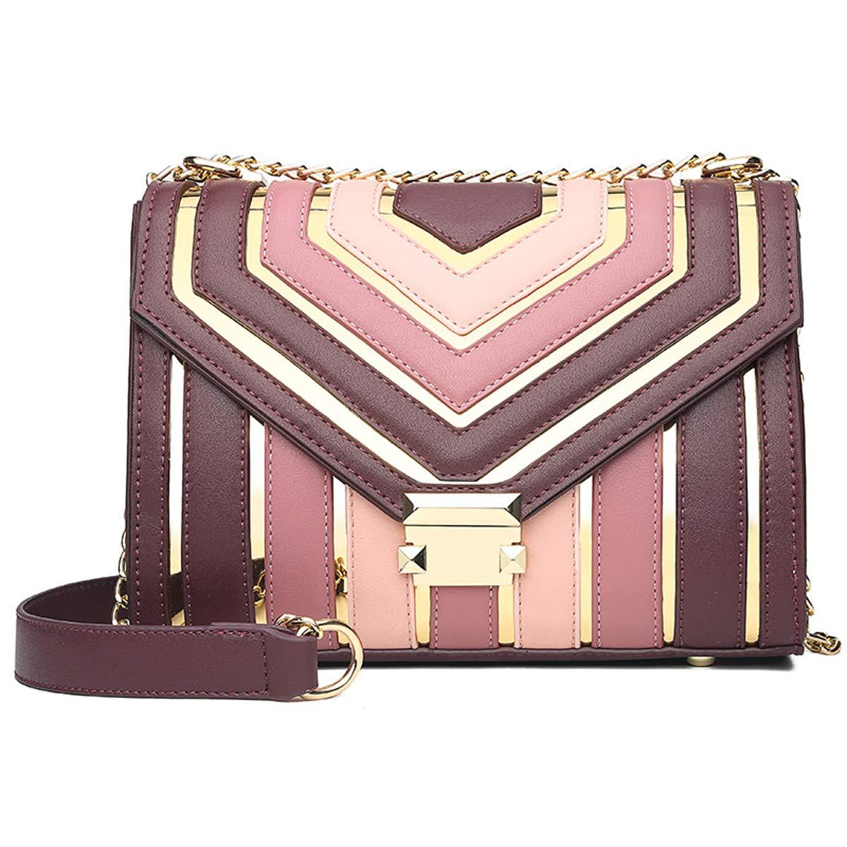 2019 Fr/ühjahr neue weibliche Tasche N/ähte Kontrastfarbe kleine quadratische Tasche weibliche Schultern wilde Hong Kong Stil Retro Messenger Bag Rot, 25 * 12 * 22cm