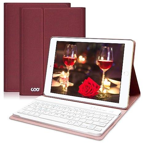 COO Funda Teclado Bluetooth iPad 9,7, Cubierta Ultraliviano con Teclado Español Desmontable Inalámbrico