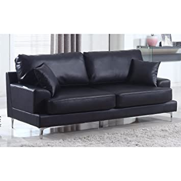 Bon Madison Home Ultra Modern Plush Bonded Leather Living Room Sofa With Chrome  Leg Detail Black
