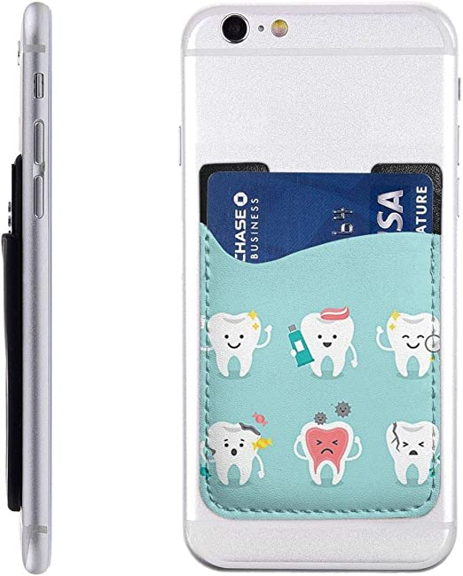 Amazon Com Guiytq5r Cartoon Funny Teeth Cell Phone Card Holder Stick On Wallet For Back Of Phone Phone Pocket Id Credit Card Holder Sleeves Pouch For All Smartphones Home Kitchen