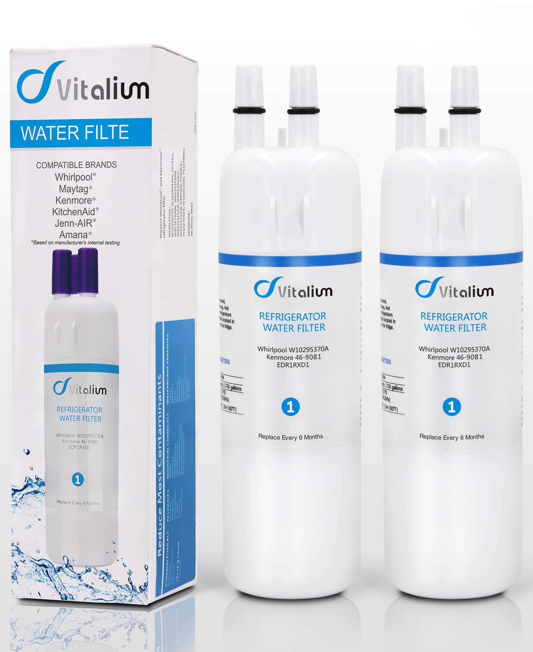 Vitaliums W10295370A W10295370 Refrigerator Water Filter 1 EDR1RXD1 P4RFWB Kenmore 46-9930 Kenmore 46-9081