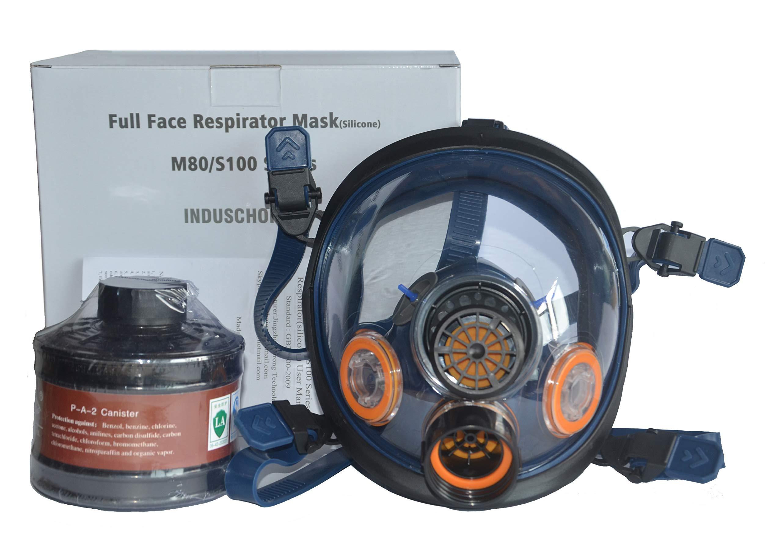 Induschoice Organic Vapor Full Face Respirator Mask Gas Mask Paint Pesticide Chemical Formaldehyde Anti Virus Respiratory Protection(Respirator +1 LDG3 Canister)