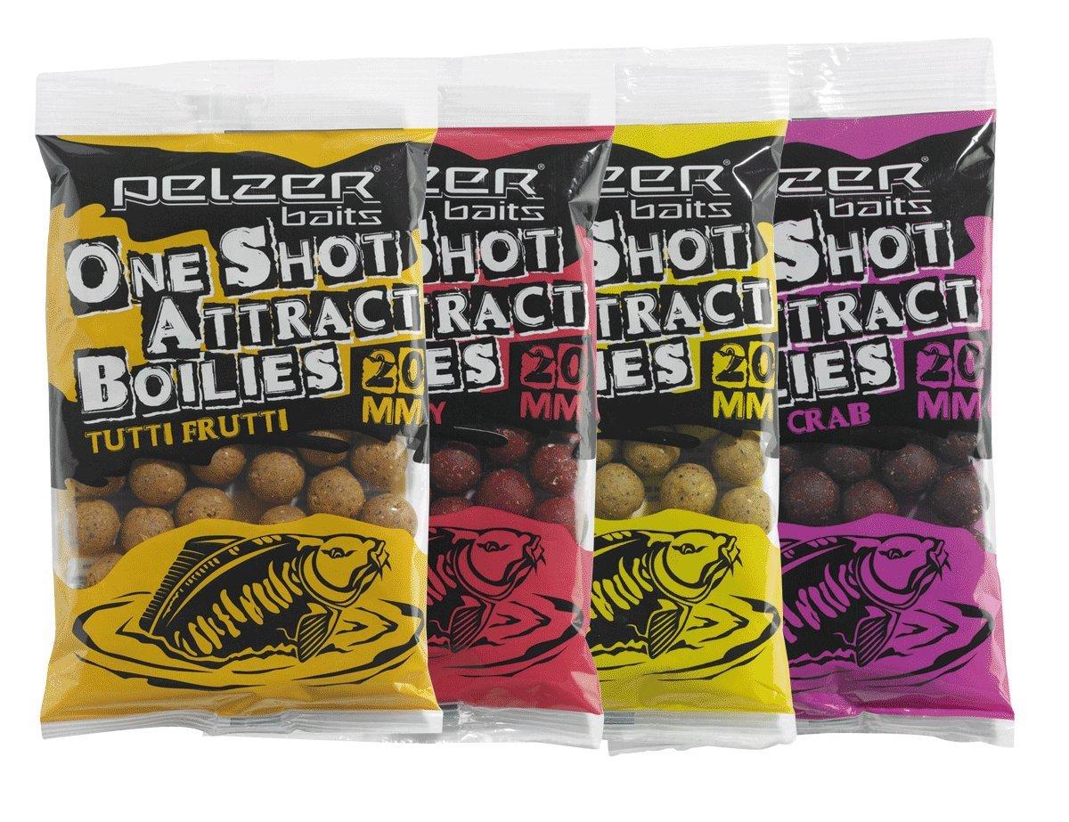 Pelzer One Shot Attract Boilies Scopex, Esche alla fragola, da 20mm, confezione da 250g
