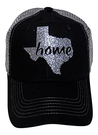 Spirit Caps Silver Glitter Texas Home Black Grey Trucker Cap Hat ... a6af2c392fb