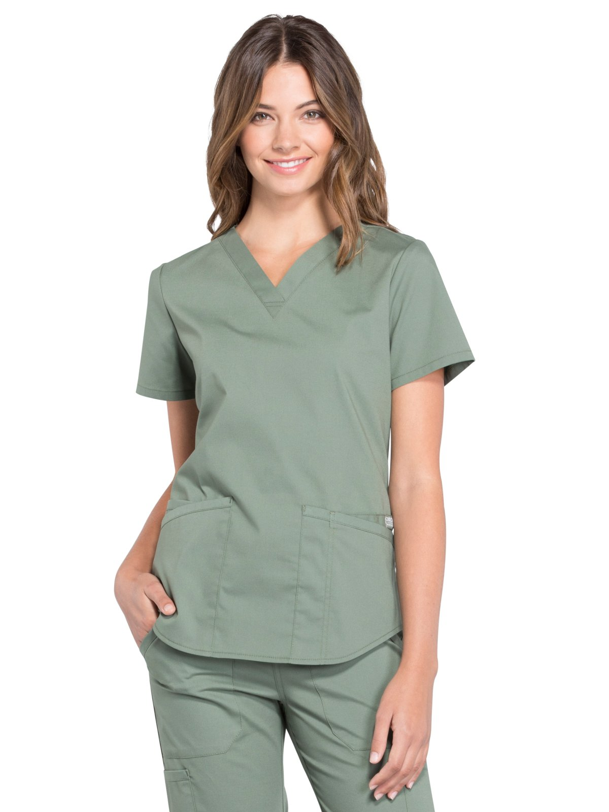 Cherokee Professionals Workwear Women's V-Neck Solid Scrub Top Medium Olive