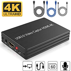Video Capture Card, 4K HDMI Game Capture Card, USB 3.0 Capture Device with DC5V connetor, USB 1080p60 Game Recorder Box Device Live Streaming for PS4, Windows, Mac OS and Linus Systems (Black)