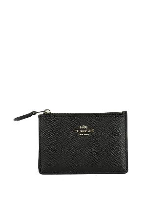 38c2ccabec Coach Women's 57841LIBLK Black Leather Card Holder: Amazon.co.uk ...