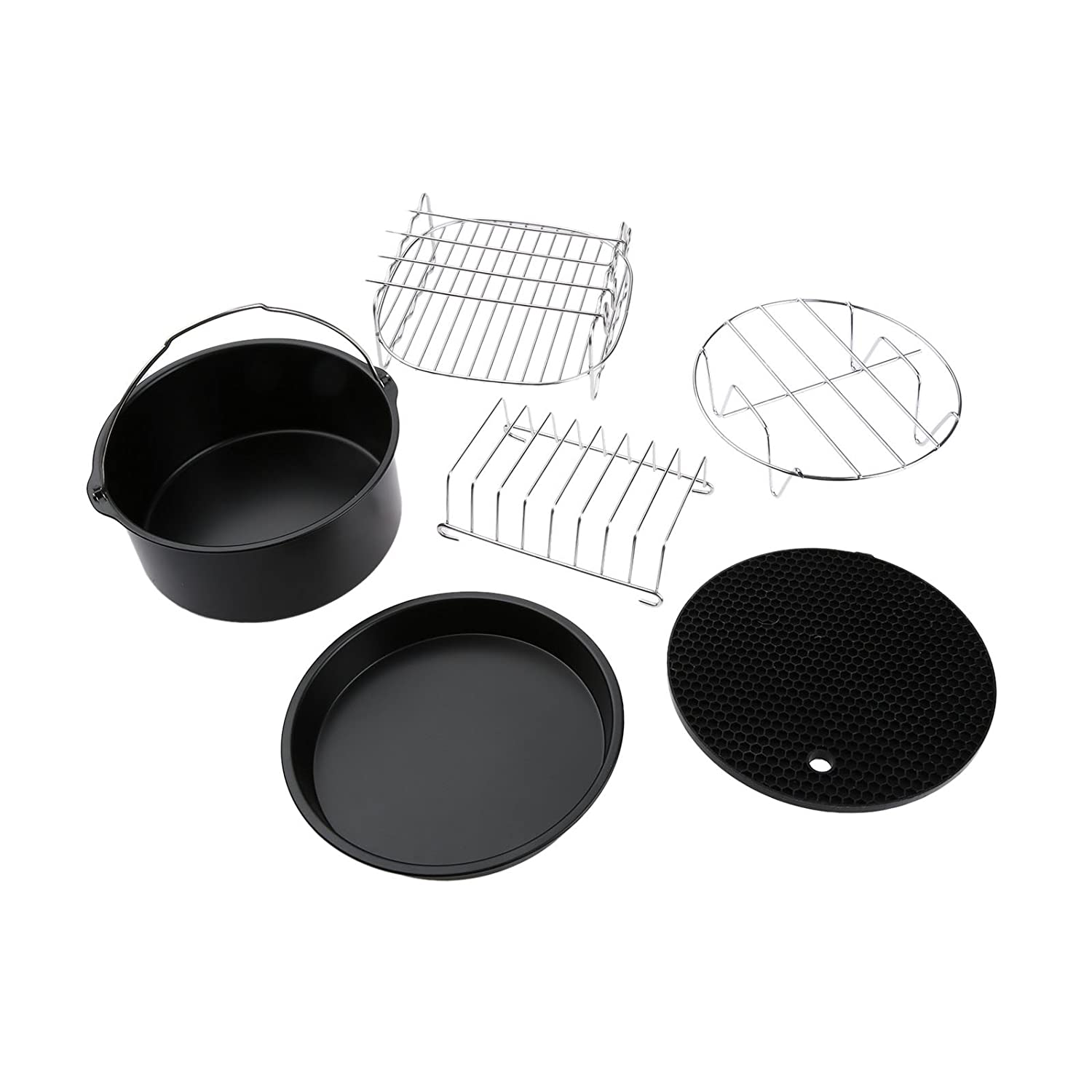 6Pcs Air Fryer Accessories for 3.2-4.5QT Skewer Rack Baking Pizza Pan Holder Yetaha