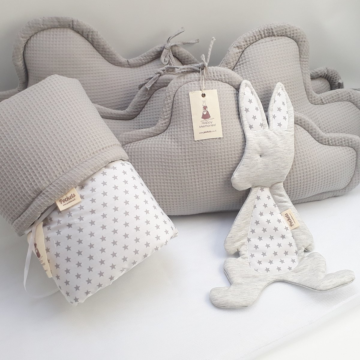 Image of 5 Piece Bedding Set - 3 clouds pillows bumper + blanket + baby lovey for Baby Crib, baby cot, baby bed- grey Home and Kitchen