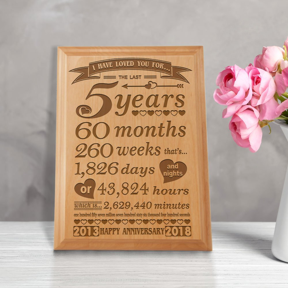 Kate Posh 5th Anniversary Engraved Natural Wood Plaque 5th