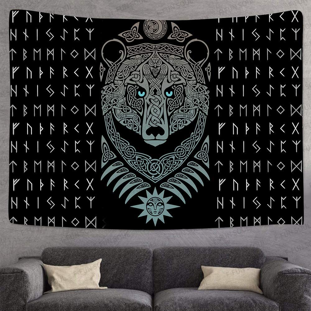 F Fun Soul Viking Bear Tapestry Large 80x60inches Soft Cotton Mysterious Viking Meditation Psychedelic Runes Wall Hanging Tapestries For Living Room Bedroom Decor Gtlsfs9 Home Kitchen