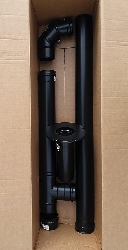 Humo Tubo Set 80 mm ACERO INOXIDABLE Negro con 1 m, 0,5 m ...