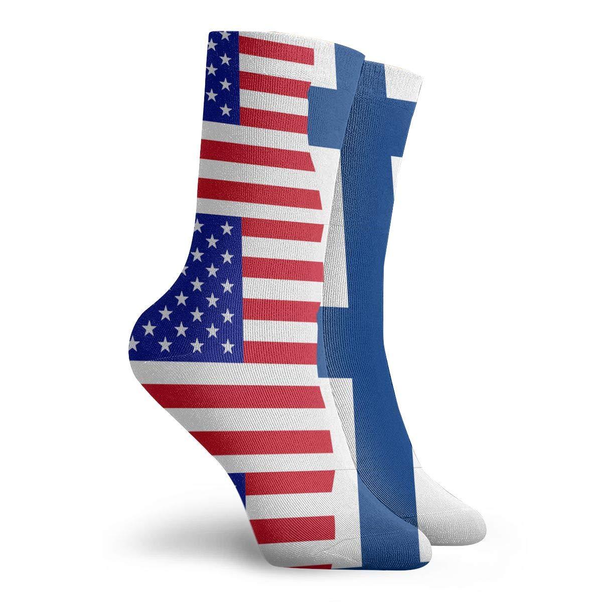 Adult Half USA Half Finland Flag Athletic Ankle Socks
