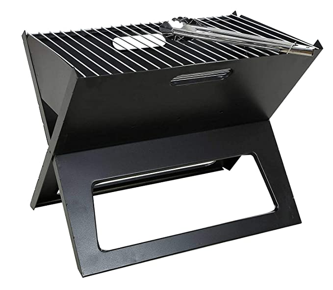 Bhavya Enterprise Stainless Steel Barbecue Stove Charcoal Grill with Foldable Crystal Plate Oven with 1 Oil Brush + 1 Tong+ 2 Skewers (Black)
