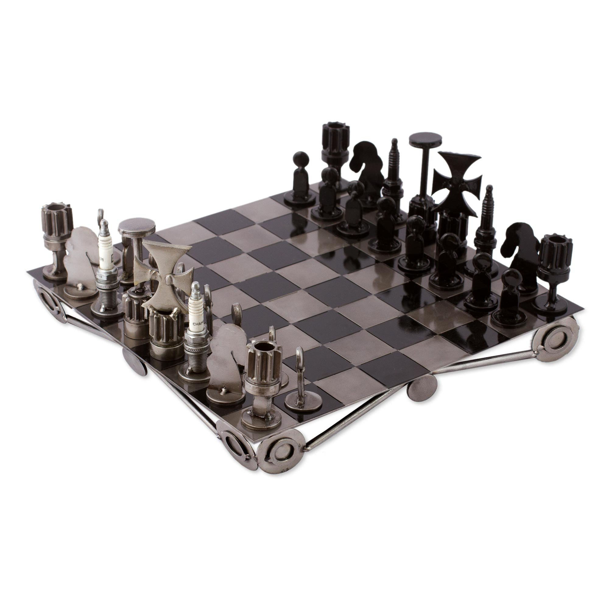 NOVICA Decorative Recycled Metal Handmade Tabletop Chess Set, 'Recycling Challenge'