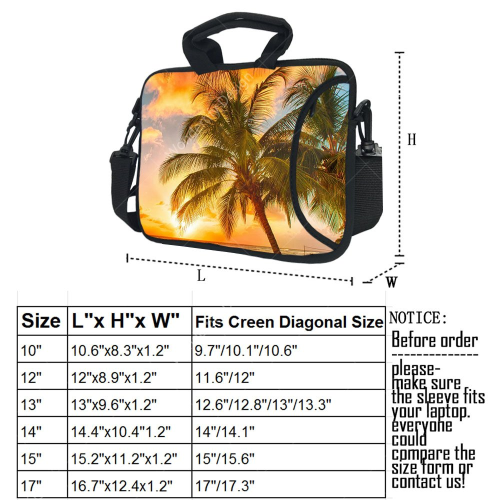 Wondertify 17-17.3 Inch Waterproof Neoprene Laptop Shoulder Bag Briefcase - Hawaii Summer Beach Protective Bag Carrying Case for Macbook/Tablet/Laptop/Notebook/ASUS/Samsung/Lenovo/HP/Dell