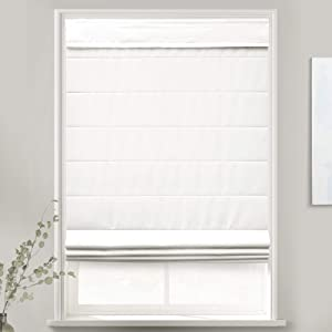 MOOD Custom Fabric Roman Shades for Windows | Cordless + Designer Styles with Thermal Backing | 58 inches Wide Blinds for Bedroom Living Room Doors and Homes | Pure White (Privacy) | 58