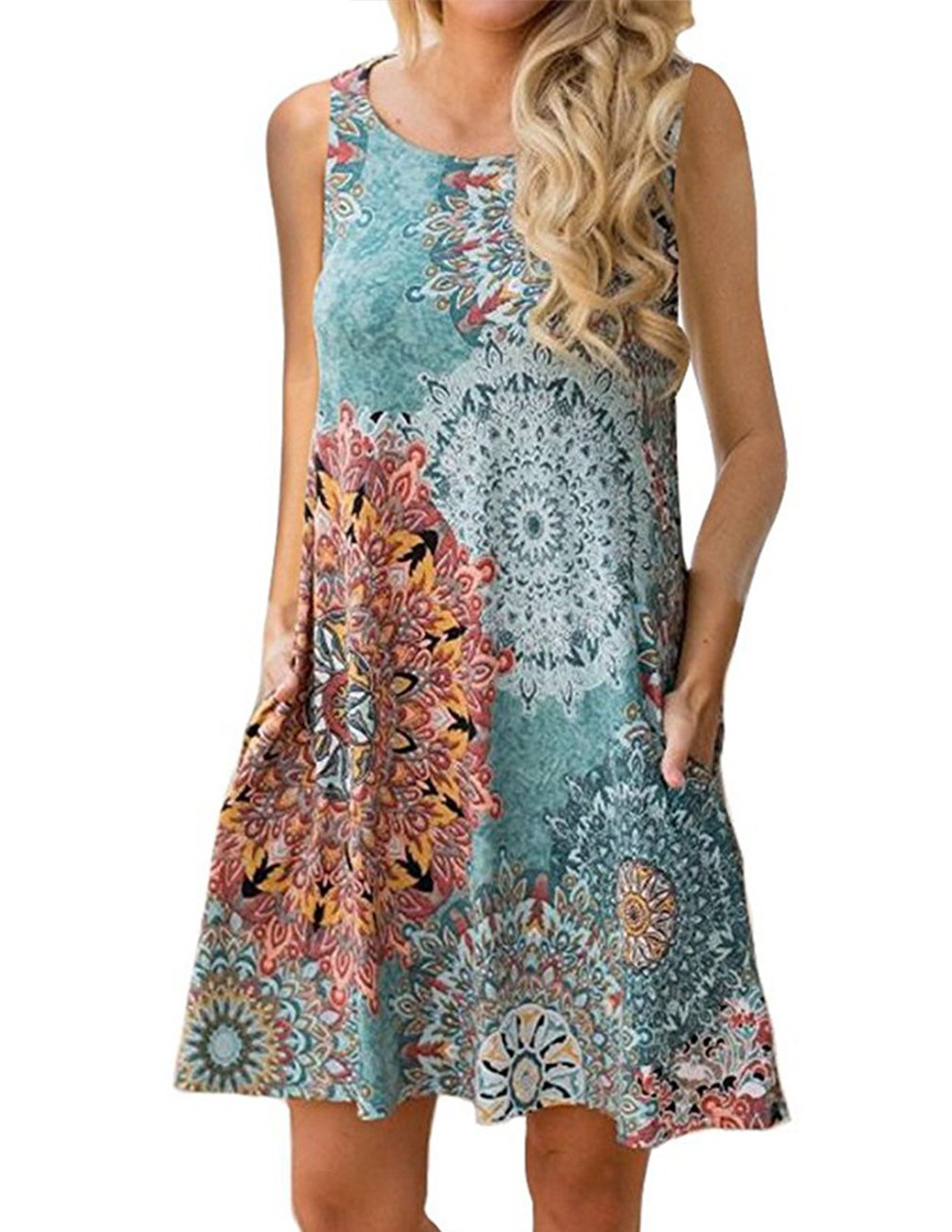 Buauty Women's Summer Boho Sleeveless Embroidered Hem Cotton Loose Casual Tank Dress