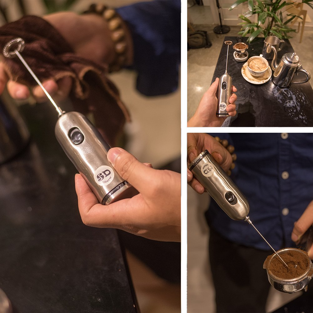 HBT Milk Frother Mixer Handheld Espresso Stirrers - Frothing Wand Battery Operated Electric Foam Maker for Coffee|Latte|Cappuccino|Hot Chocolate - Home Gifts Stainless Steel with Free Spoon|Ebook by HBT (Image #6)