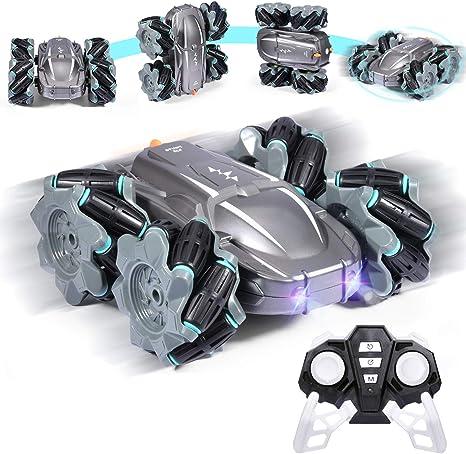 Zosam4WheelDriftRemoteControlRacingCar RC Off-RoadStuntDrift Toy withHeadlights Sounds360°High-SpeedRotation ElectricCharging-TheBestGiftforChildren&Kids (Silver)