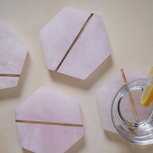 Decked Out Pink Stone Coasters (Set of 4) | west elm