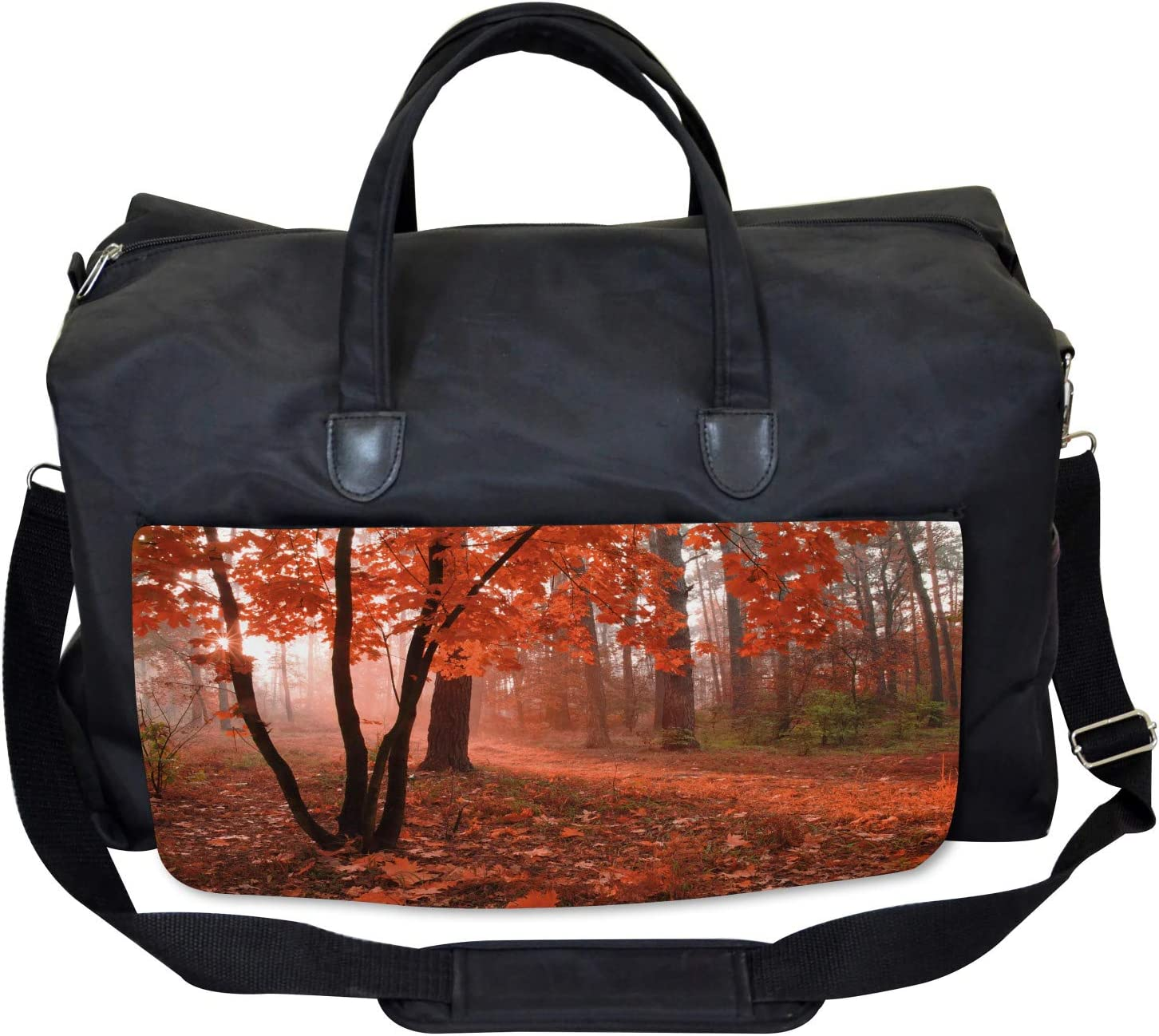 Ambesonne Fall Gym Bag Large Weekender Carry-on Misty Forest Leaves Orange