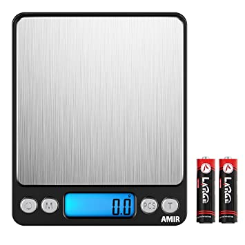 AMIR Báscula de Cocina Digital, Escala Digital de 3 kg x 0.1 g, Escala de Letras ...
