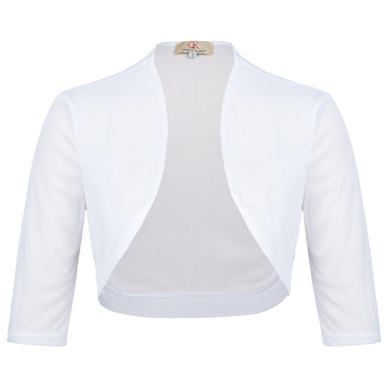 8e4653dae1 GRACE KARIN Kate Kasin Women Half Sleeve Cropped Short Open Chiffon Bolero  Shrug CL473