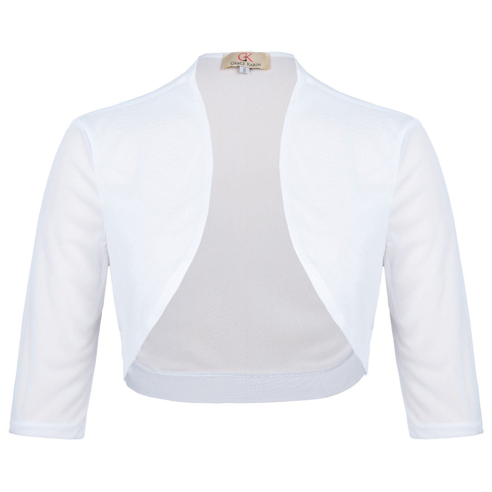 GRACE KARIN Chiffon Half Sleeve Short Women Bolero Shrug White Size M CL010473