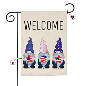 Welcome Gnomes Garden Flag Set, Vertical Double Sided 4th of July Patriotic Memorial Day Independence Day Yard Outdoor Decoration 12.5 X 18 Inch, Farmhouse Lawn Decor with Stopper and Anti-Wind Clip