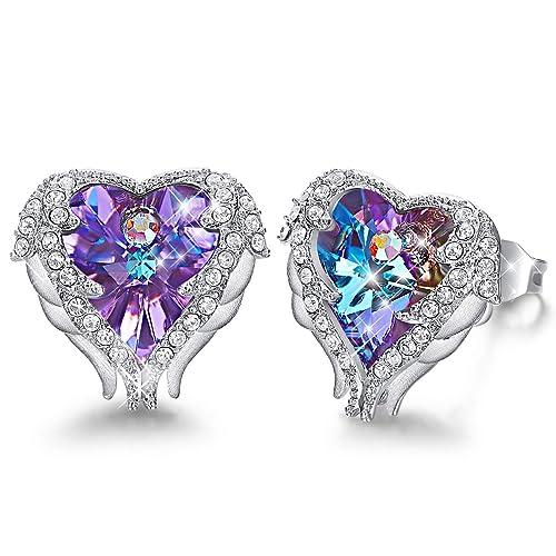 4166e1b58571a CDE Angel Wing Swarovski Earrings Women Silver Plated Studs Ear Ring Crystal  Heart Ocean Jewelry Valentine s