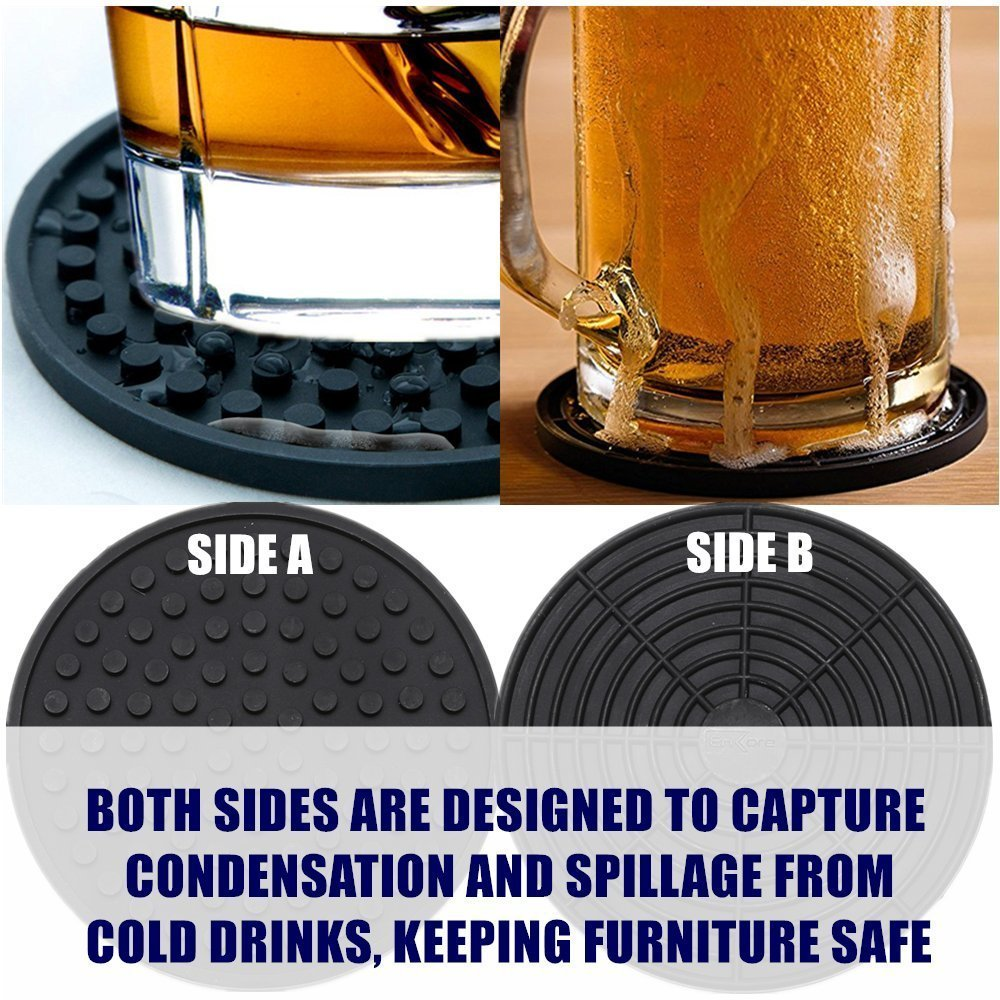 Enkore Coasters Set of 6 in Holder - Protect Furniture From Water Marks & Damage - Good Grip, Deep Tray, Large 4.3 inch Size (Black) by Enkore (Image #7)