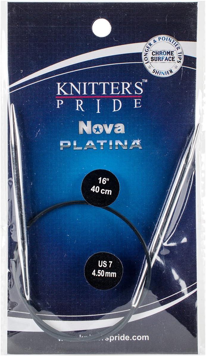 4.5mm Knitting Needles; Size US 7 40cm Knitters Pride Nova Platina Fixed Circular 16-inch