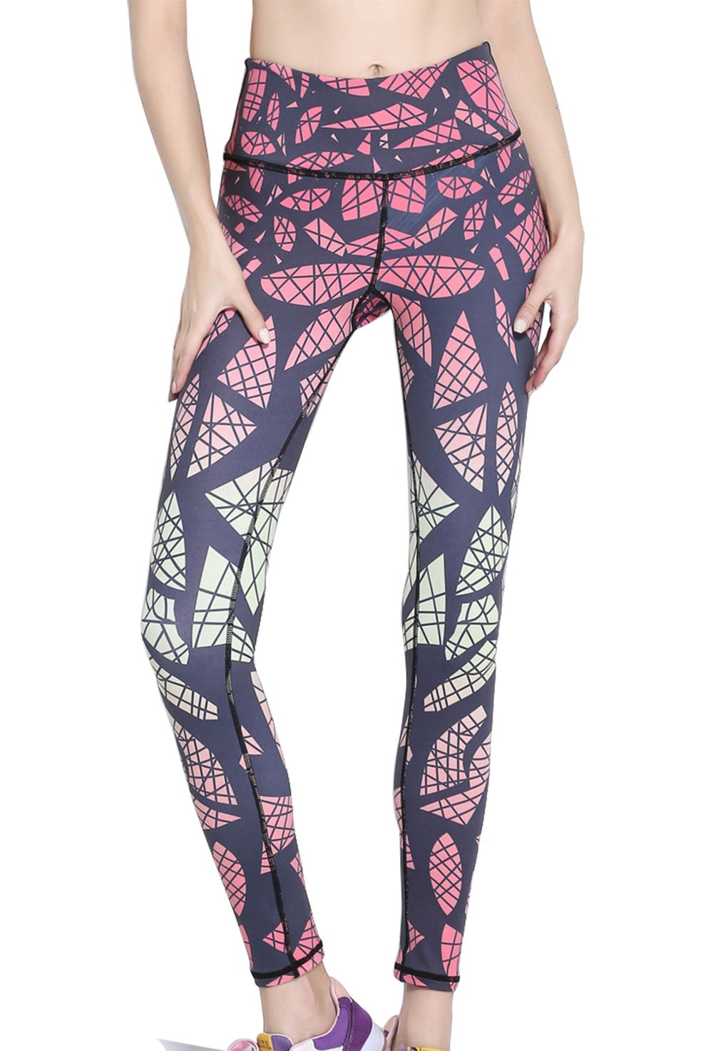 FEOYA Women's Printed Fashion Leggings Gym Leggings High Waist Printed Pants Palazzo