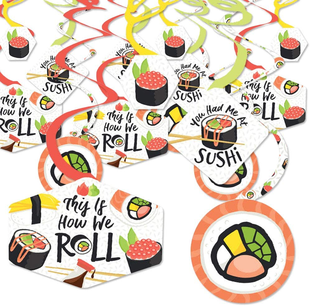 Big Dot of Happiness Let's Roll - Sushi - Japanese Party Hanging Decor - Party Decoration Swirls - Set of 40