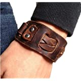 Antique Men's Brown Leather Cuff Bracelet, Leather Wrist Band Wristband Handcrafted Jewelry SL2258