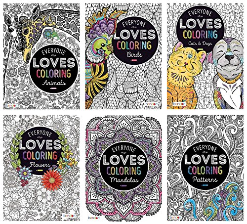 Bundle of 6 40-Page Everyone Loves Coloring Advanced Coloring Books - Animals, Birds, Cats & Dogs, Flowers, Mandalas, and Patterns (Love Birds Animals)