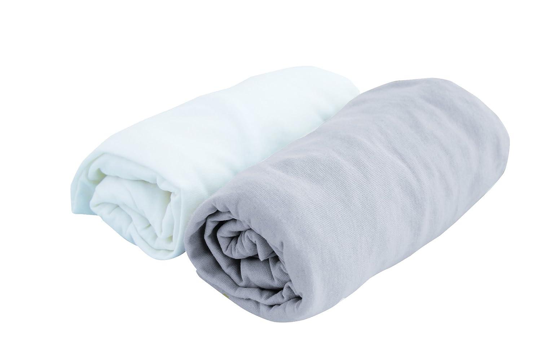 PMP - Set de 2 sá banas bajeras ajustables en jersey blanco/perla 70 x 140 cm 5000614