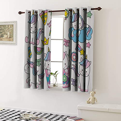 1GShophome Window Curtain Drape Cute Baby Unicorn in Pastel Rainbow Colors Grommets Drapes for Living Room 2 Pieces, 27.5 Wide Each Panel